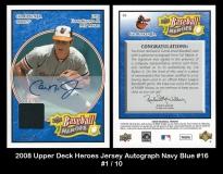 2008 Upper Deck Heroes Jersey Autograph Navy Blue #16