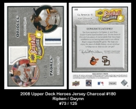 2008 Upper Deck Heroes Jersey Charcoal #180