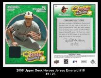 2008 Upper Deck Heroes Jersey Emerald #16