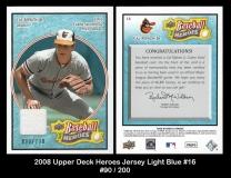 2008 Upper Deck Heroes Jersey Light Blue #16