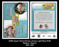 2008 Upper Deck Heroes Jersey Light Blue #180