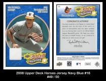 2008 Upper Deck Heroes Jersey Navy Blue #16