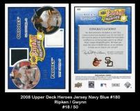 2008 Upper Deck Heroes Jersey Navy Blue #180