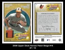 2008 Upper Deck Heroes Patch Beige #16