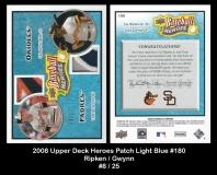 2008 Upper Deck Heroes Patch Light Blue #180