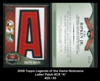 2009 Topps Legends of the Game Nickname Letter Patch #CR A