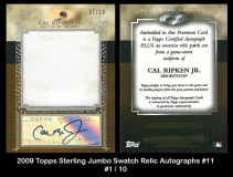 2009 Topps Sterling Jumbo Swatch Relic Autographs #11