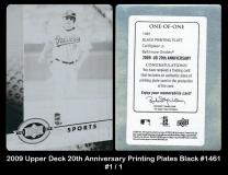 2009 Upper Deck 20th Anniversary Printing Plates Black #1461