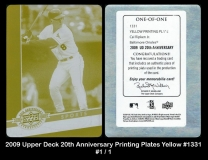 2009 Upper Deck 20th Anniversary Printing Plates Yellow #1331