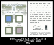 2010 Famous Fabrics Decades Silver #NNO