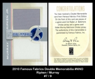 2010 Famous Fabrics Double Memorabilia #NNO