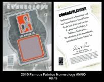 2010 Famous Fabrics Numerology #NNO
