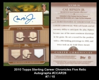 2010 Topps Sterling Career Chronicles Five Relic Autographs #CCAR26