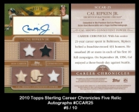 2010 Topps Sterling Career Chronicles Five Relics Autographs #CCAR25