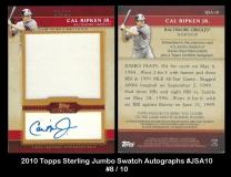 2010 Topps Sterling Jumbo Swatch Autographs #JSA10