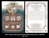 2010 Topps Sterling Sterling Stats Relics Six 10 #SSR7