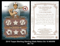 2010 Topps Sterling Sterling Stats Relics Six 10 #SSR8