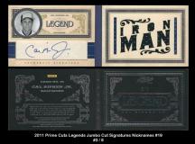 2011 Prime Cuts Legends Jumbo Cut Signatures Nicknames #19