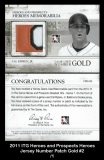2011 ITG Heroes and Prospects Heroes Jerey Number Patch Gold #2