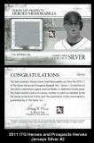 2011 ITG Heroes and Prospects Heroes Jerseys Silver #2