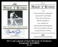 2011 Leaf Legends of Sport Moments of Greatness Autographs Gold #MG6