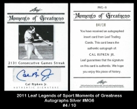 2011 Leaf Legends of Sport Moments of Greatness Autographs Silver #MG6