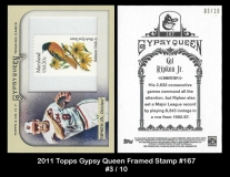 2011 Topps Gypsy Queen Framed Stamp #167