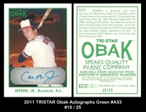 2011 TRISTAR Obak Autographs Green #A33