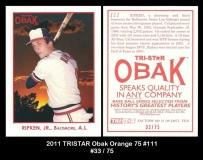 2011 TRISTAR Obak Orange 75 #111