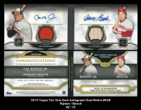 2013 Topps Tier One Dual Autograph Dual Relics #RJB