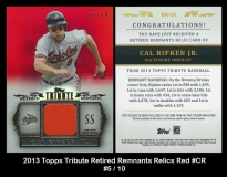 2013 Topps Tribute Retired Remnants Relics Red #CR