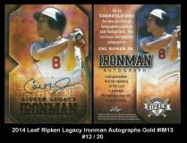 2014 Leaf Ripken Legacy Ironman Autographs Gold #IM13