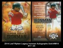 2014 Leaf Ripken Legacy Ironman Autographs Gold #IM14