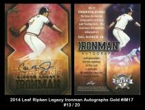 2014 Leaf Ripken Legacy Ironman Autographs Gold #IM17