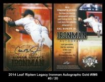 2014 Leaf Ripken Legacy Ironman Autographs Gold #IM6