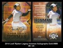 2014 Leaf Ripken Legacy Ironman Autographs Gold #IM9