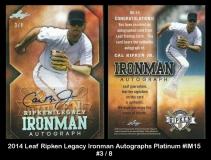 2014 Leaf Ripken Legacy Ironman Autographs Platinum #IM15