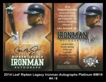 2014 Leaf Ripken Legacy Ironman Autographs Platinum #IM16