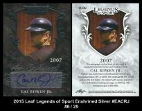 2015 Leaf Legends of Sport Enshrined Silver #EACRJ