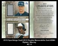 2015 Sportkings Vault 2012 Double Memorabilia Gold #DM4