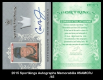 2015 Sportkings Autographs Memorabilia #SAMCRJ