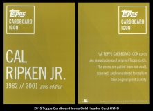 2015 Topps Cardboard Icons Gold Header Card #NNO