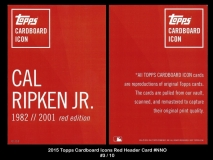 2015 Topps Cardboard Icons Red Header Card #NNO