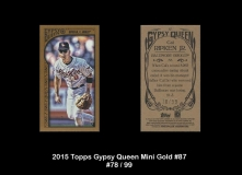 2015 Topps Gypsy Queen Mini Gold #87