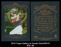 2015 Topps Gallery of Greats Gold #GG10