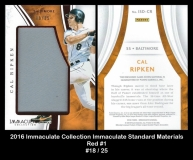 2016 Immaculate Collection Immaculate Standard Materials Red #1