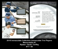 2016 Immaculate Collection Immaculate Trio Players Memorabilia #1