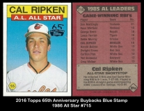 2016 Topps 65th Anniversary Buybacks Blue Stamp 1986 All Star #715