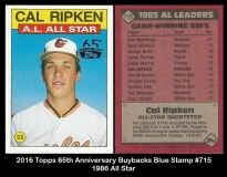 2016 Topps 65th Anniversary Buybacks Blue Stamp #715 1986 All star