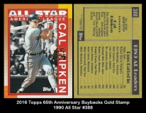 2016 Topps 65th Anniversary Buybacks Gold Stamp 1990 All Star #399